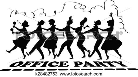 Clipart of Office party silhouette k28482753.