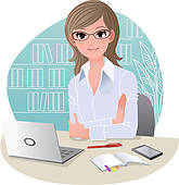 Clipart of Woman in Office on Phone k4680984.
