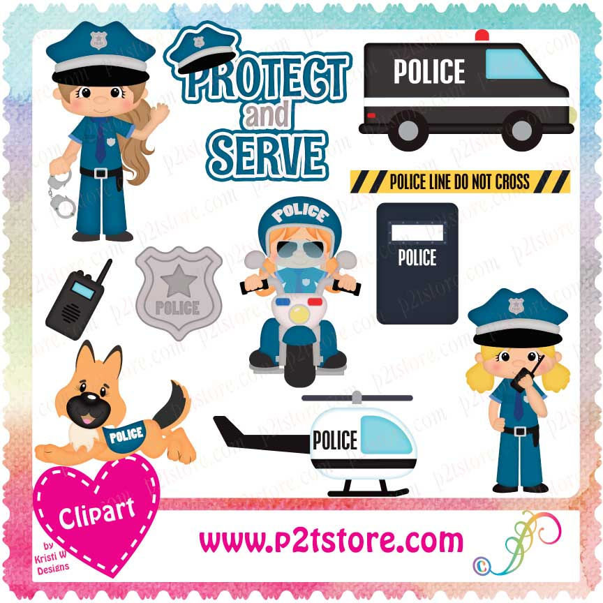 Clipart Police Officer Girls LS.
