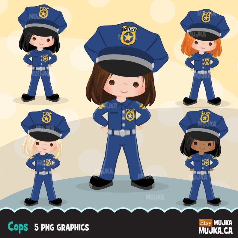 Cops, police officer clipart, Little girl clipart graphics, planner  stickers, scrapbooking, digitized embroidery, commercial use, character.