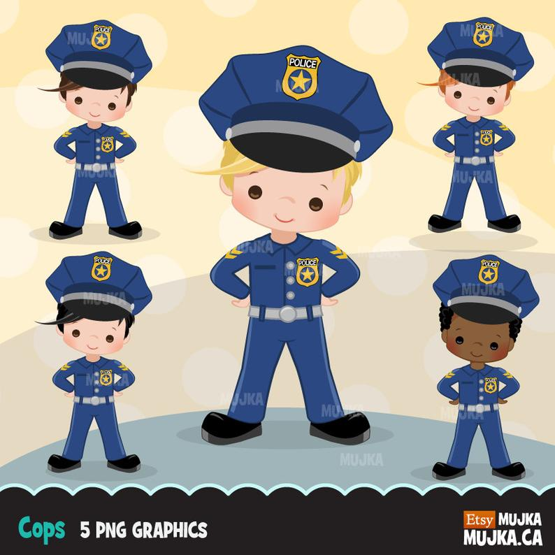 Cops, police officer clipart, Little boy clipart graphics, planner  stickers, scrapbooking, digitized embroidery, commercial use, character.