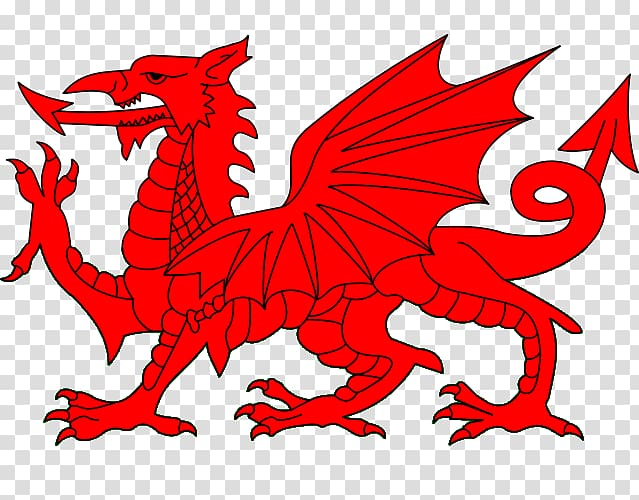 Red dragon illustration, Flag of Wales Uther Pendragon Welsh.