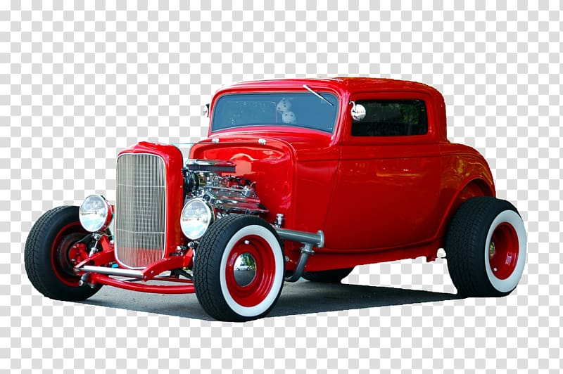Vintage red hot rod car, Street Rod Car 1932 Ford Auto show.