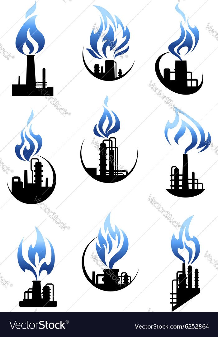 Gas and oil industry factories icons set.