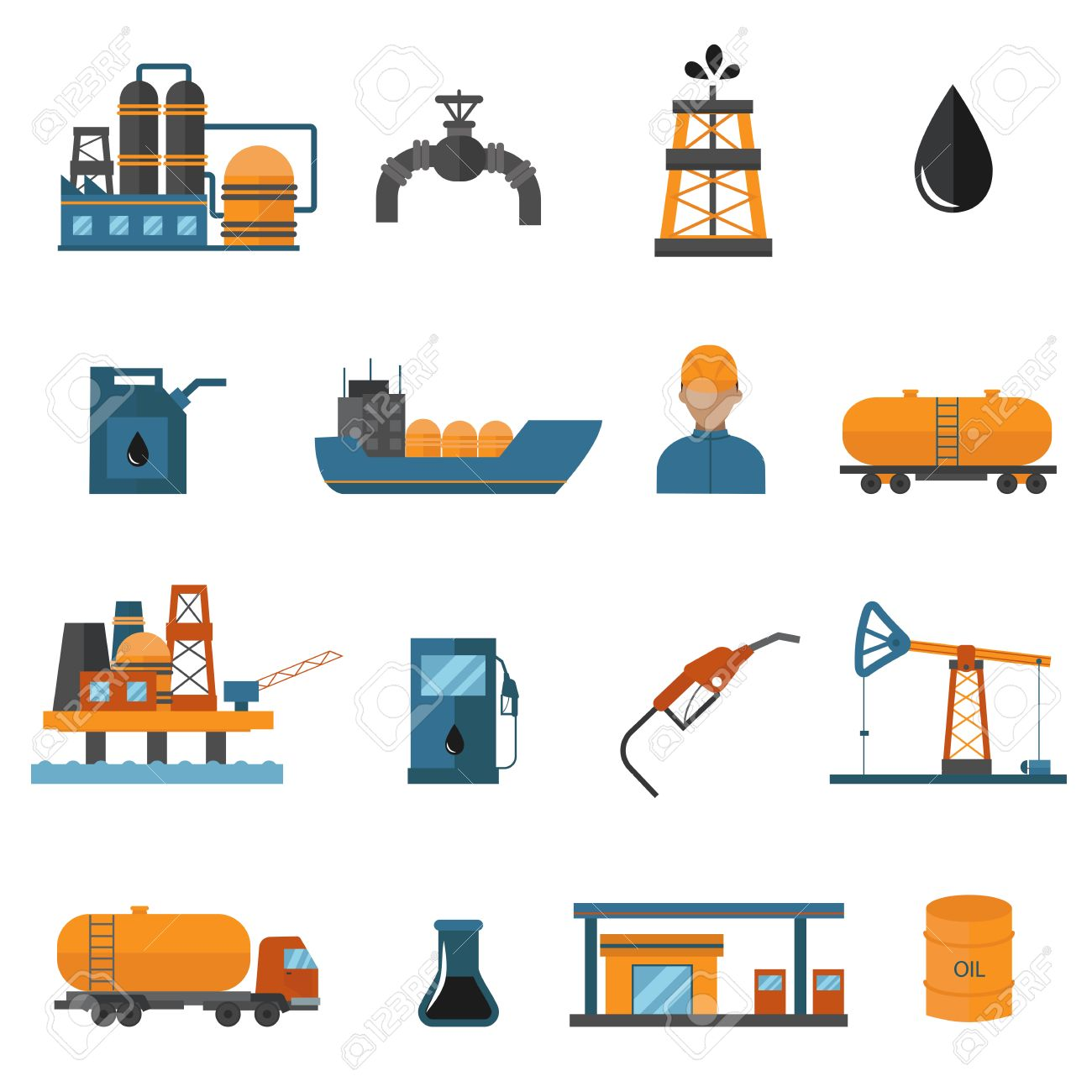 Oil gas industry manufacturing and oil gas icons for infographic.