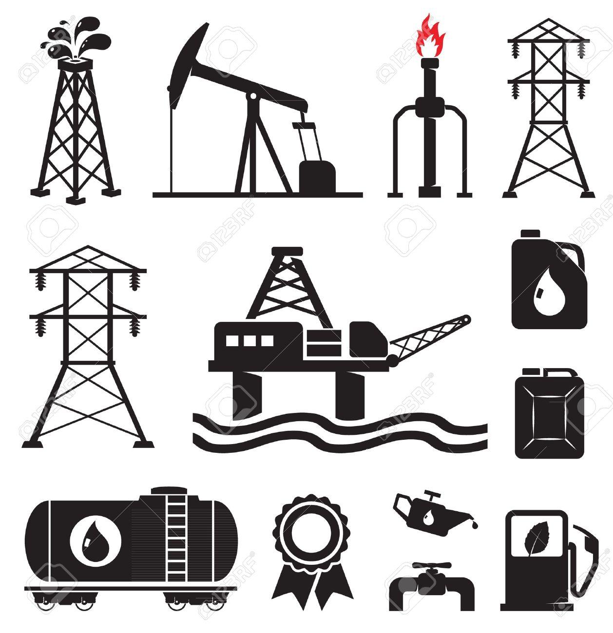 Oil, gas, electricity symbols.