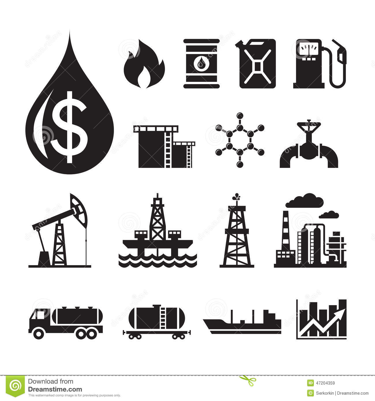 16 Oil Industry Vector Icons For Infographic, Business.