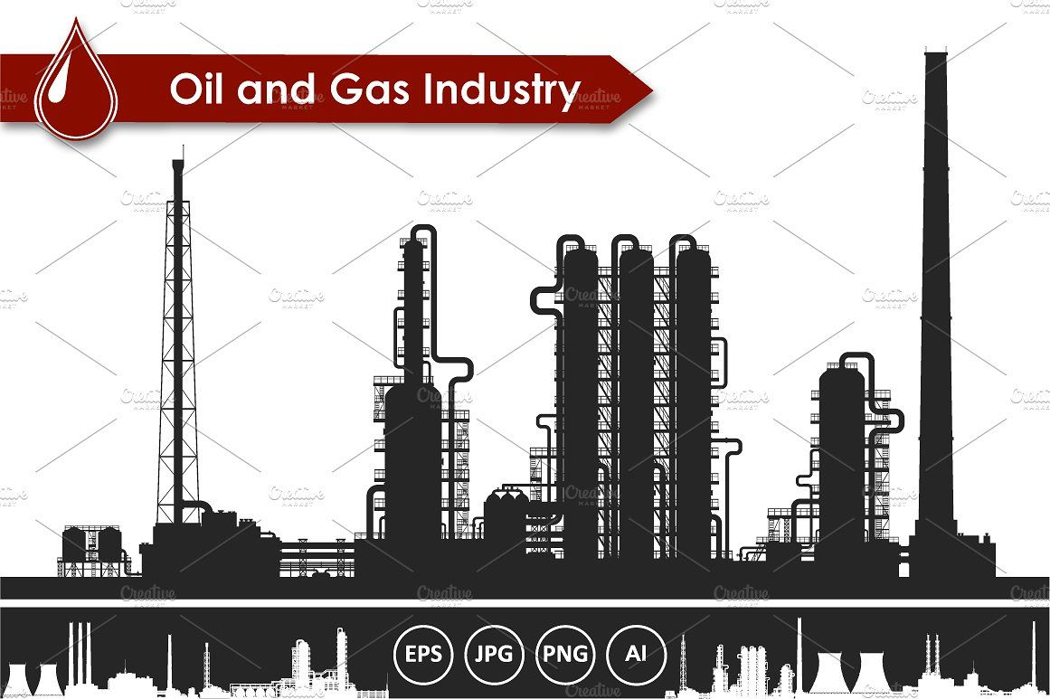 Oil and gas refinery plant vector #Zip#archive#white.
