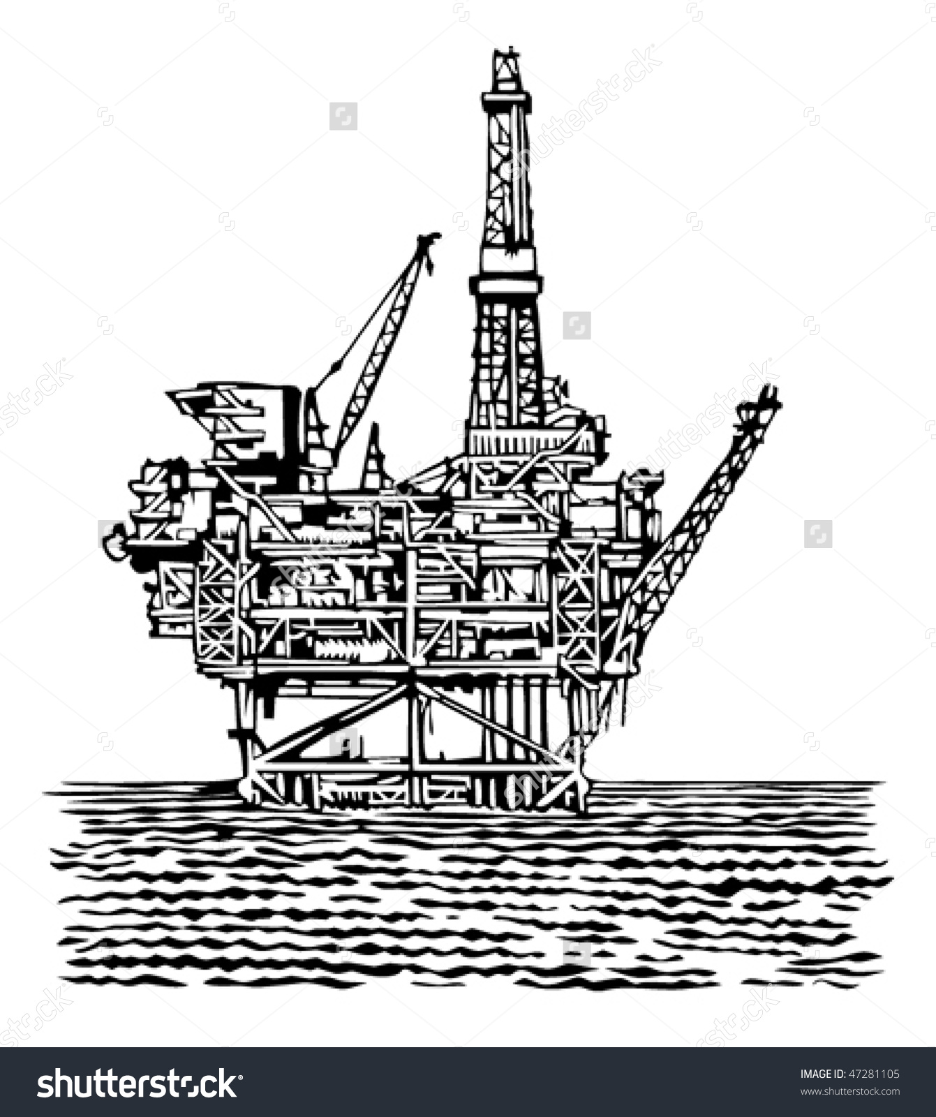 Showing post & media for Cartoon oil rig black white.