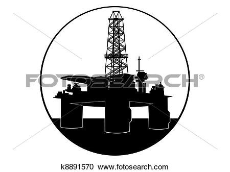 Clipart of Oil drilling rig k8891570.