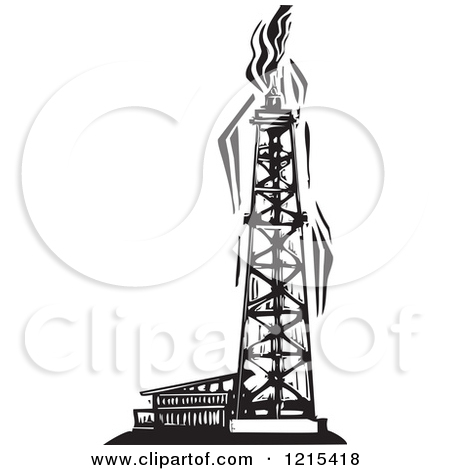 Clipart Oil Rig Black And White.