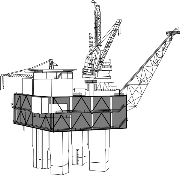 Oil Rig Black And White clip art Free vector in Open office.