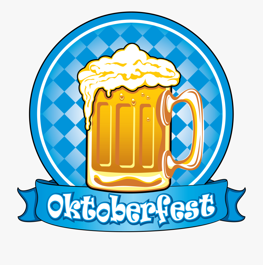 Blue Oktoberfest Decor Picture Label Beer Bottle Clipart.