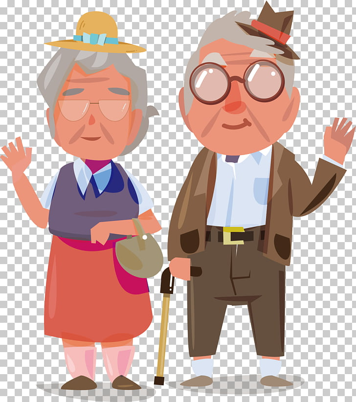 Old age Illustration, Old couple, couple artwork PNG clipart.