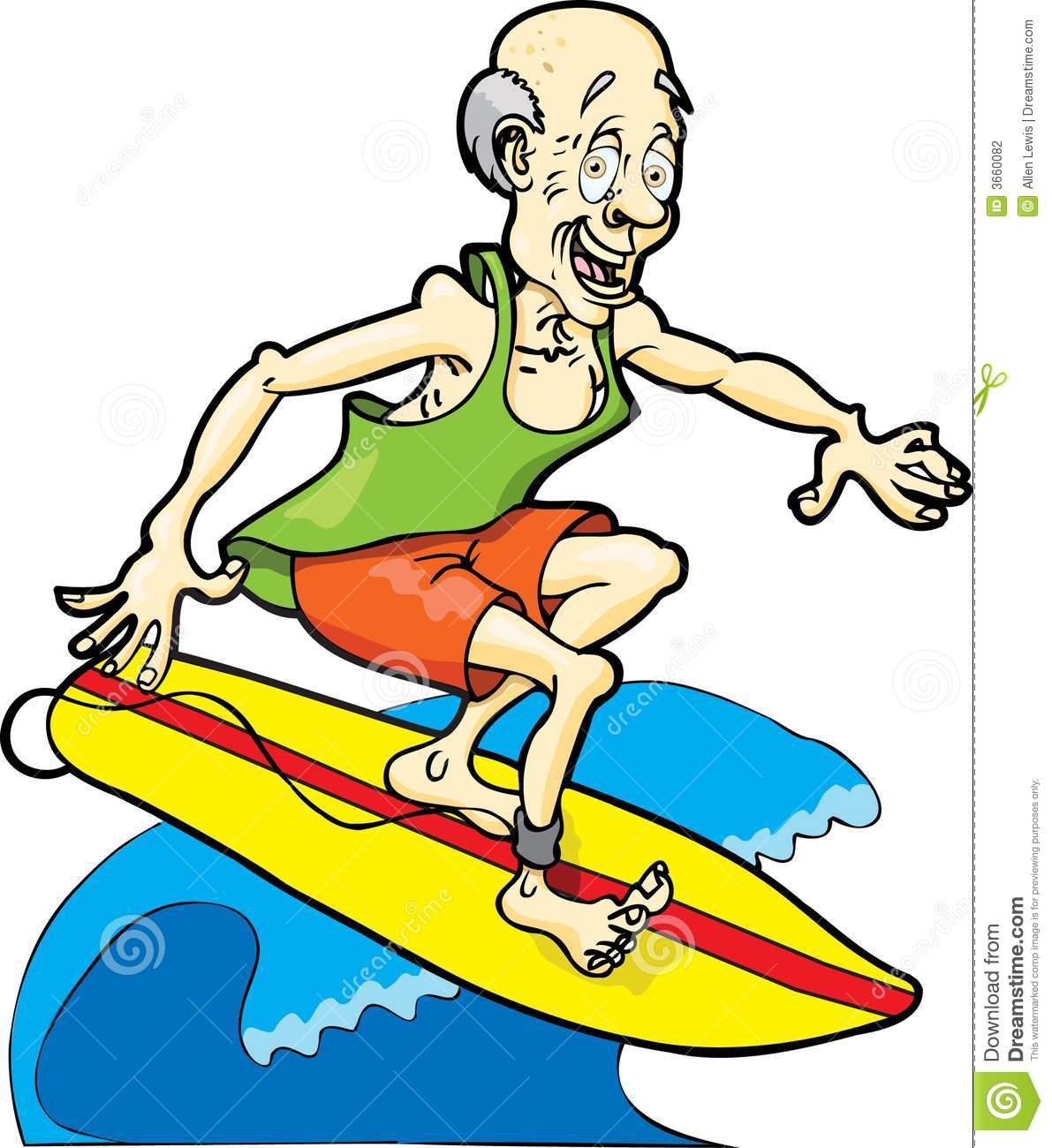 Clipart Old Man Surfing.