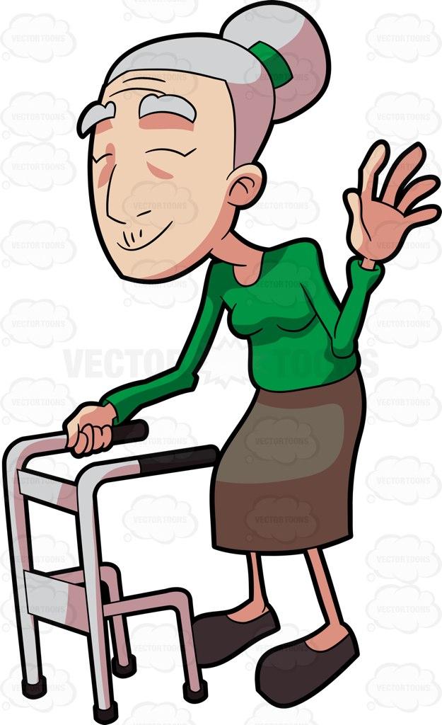 A Smiling Grandma Waving Hello Cartoon Clipart.