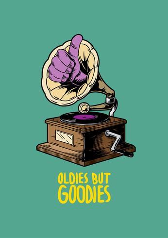 Oldies but goodies music creative illustration.