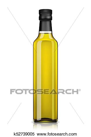 Olive oil bottle isolated on white Clipart.
