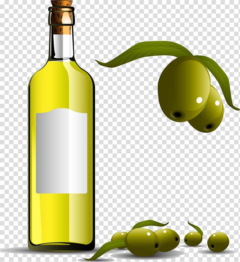 Olive oil Bottle, Pure olive oil transparent background PNG clipart.