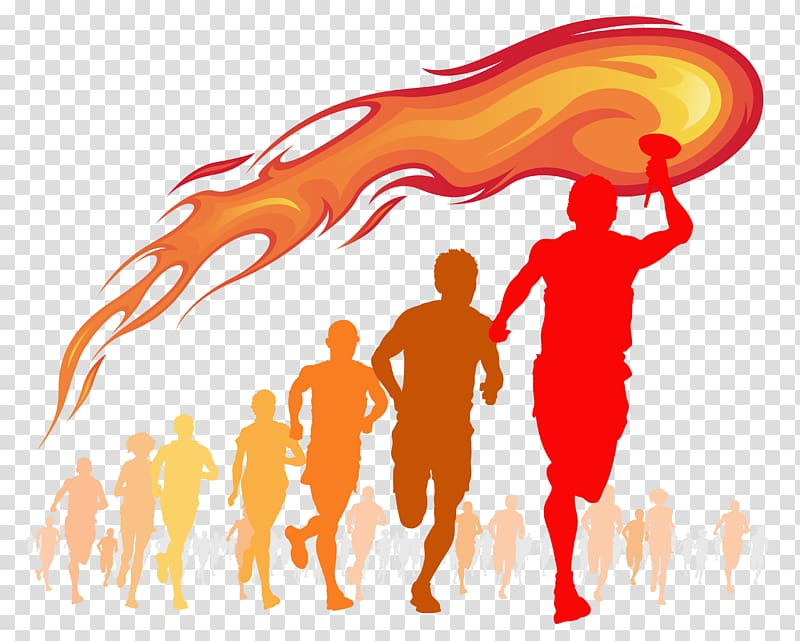 Running man silhouette, Torch Flame Fire , Olympic torch.