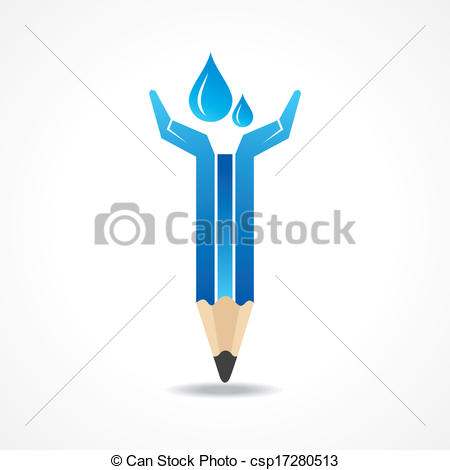 Vector Clip Art of Save water concept with pencil hands stock.
