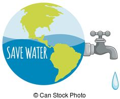 Save Water Sign With Earth Melting.