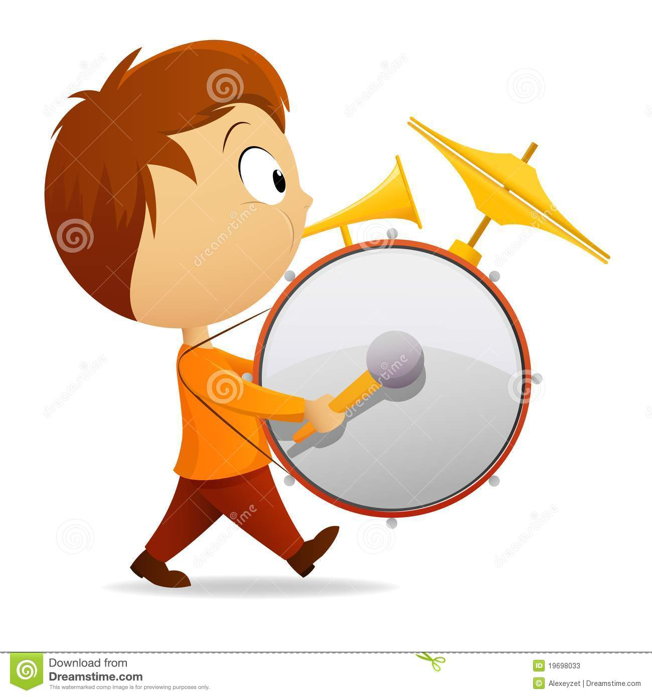Cartoon One Man Band With Drum And Tube Stock Photos.