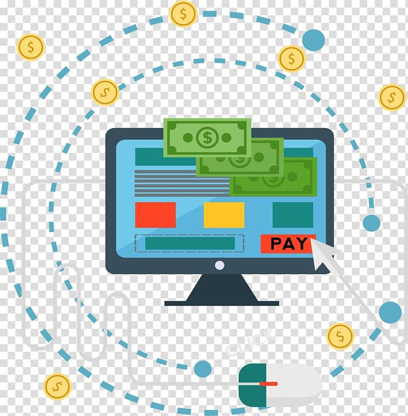 Clip pay illustration, Finance Online banking Service.