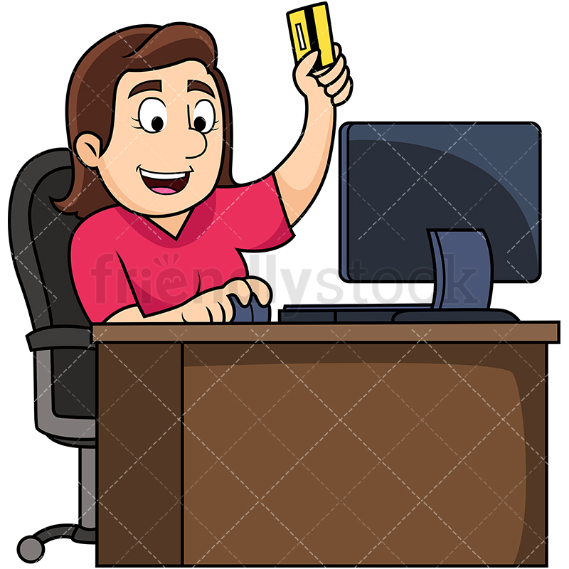 Woman Holding Credit Card To Shop Online.