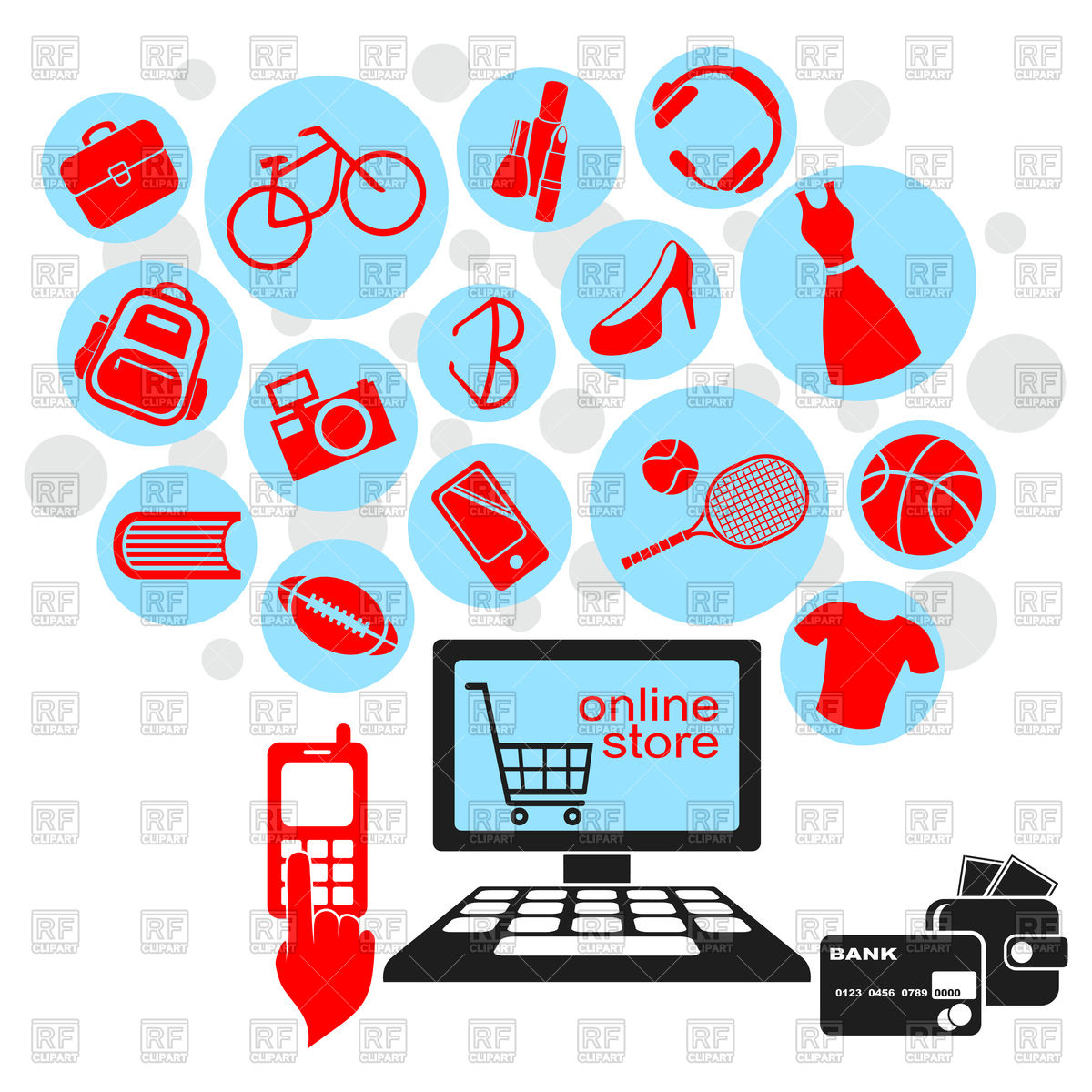 Online Store icons Stock Vector Image.