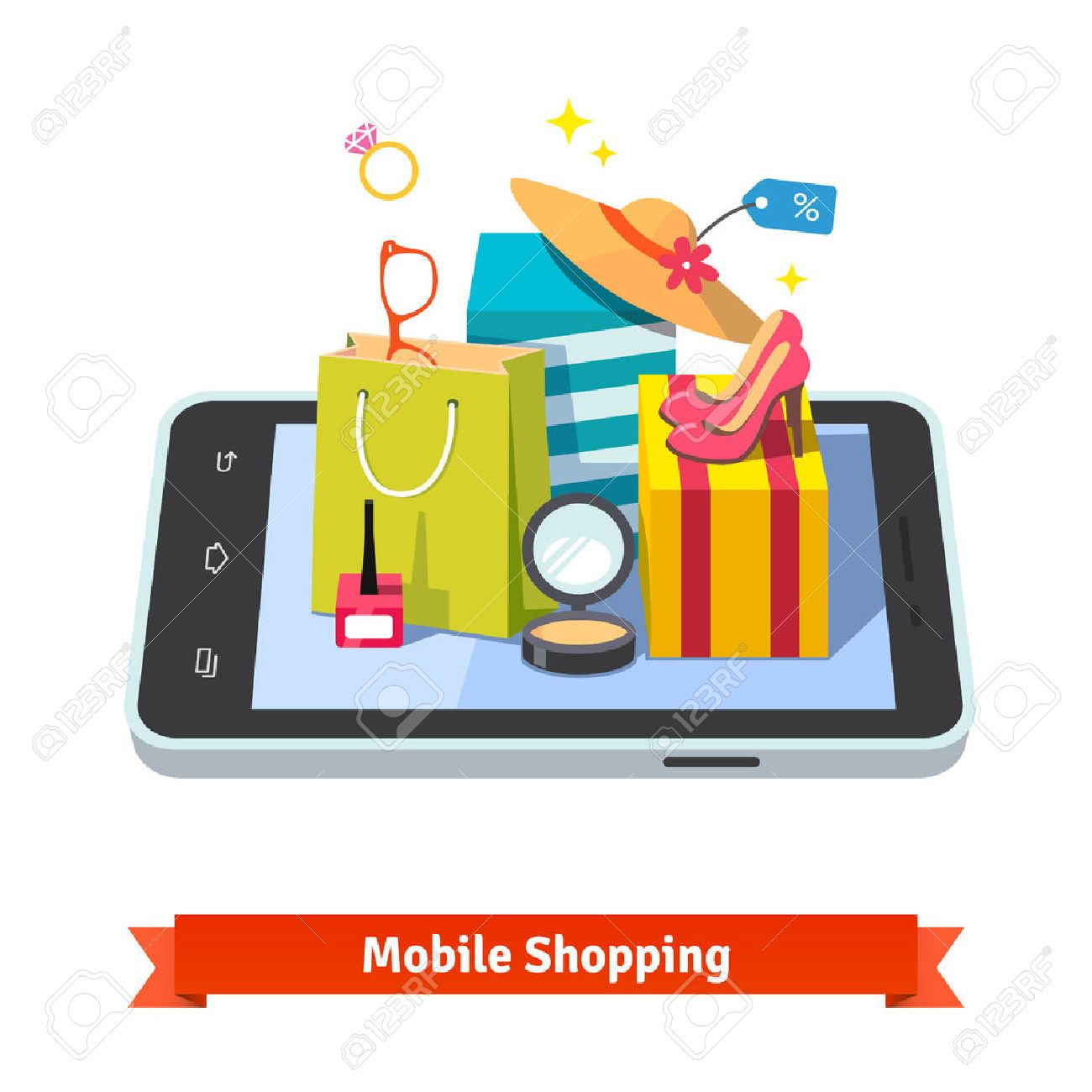 Woman mobile online shopping for accessories and cosmetics concept.