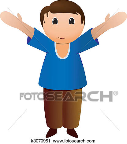 Boy with open arms Clipart.