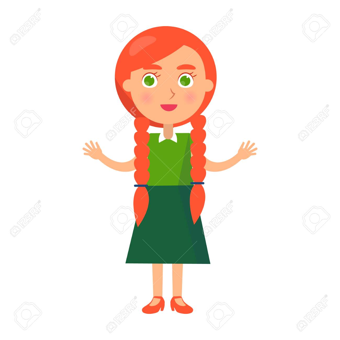 Little Redhead Girl with Wide Open Arms Isolated.