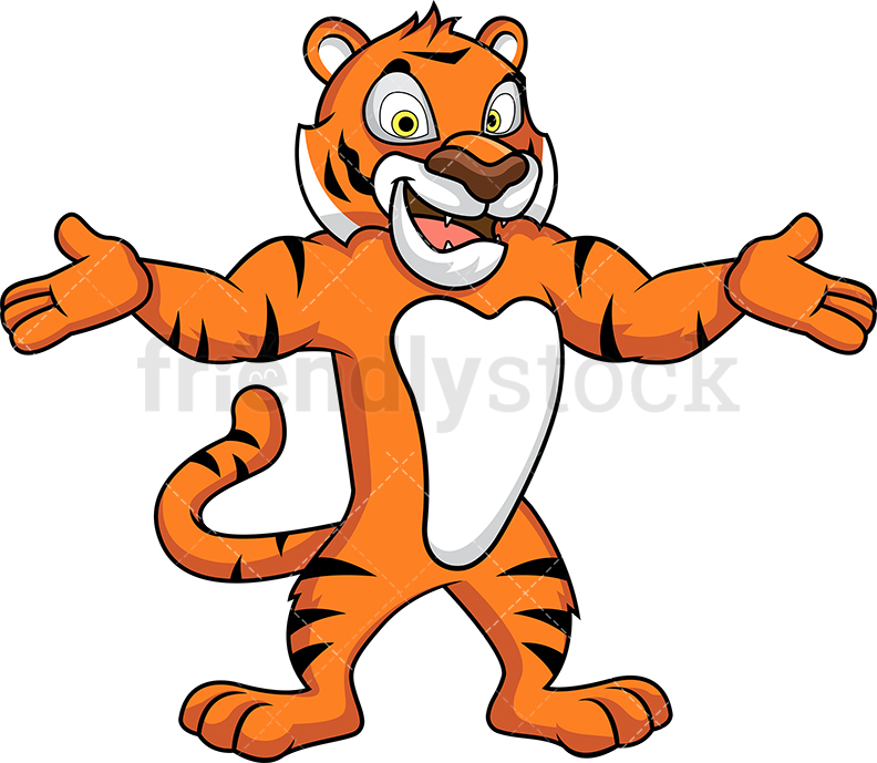 Tiger Mascot With Open Arms.