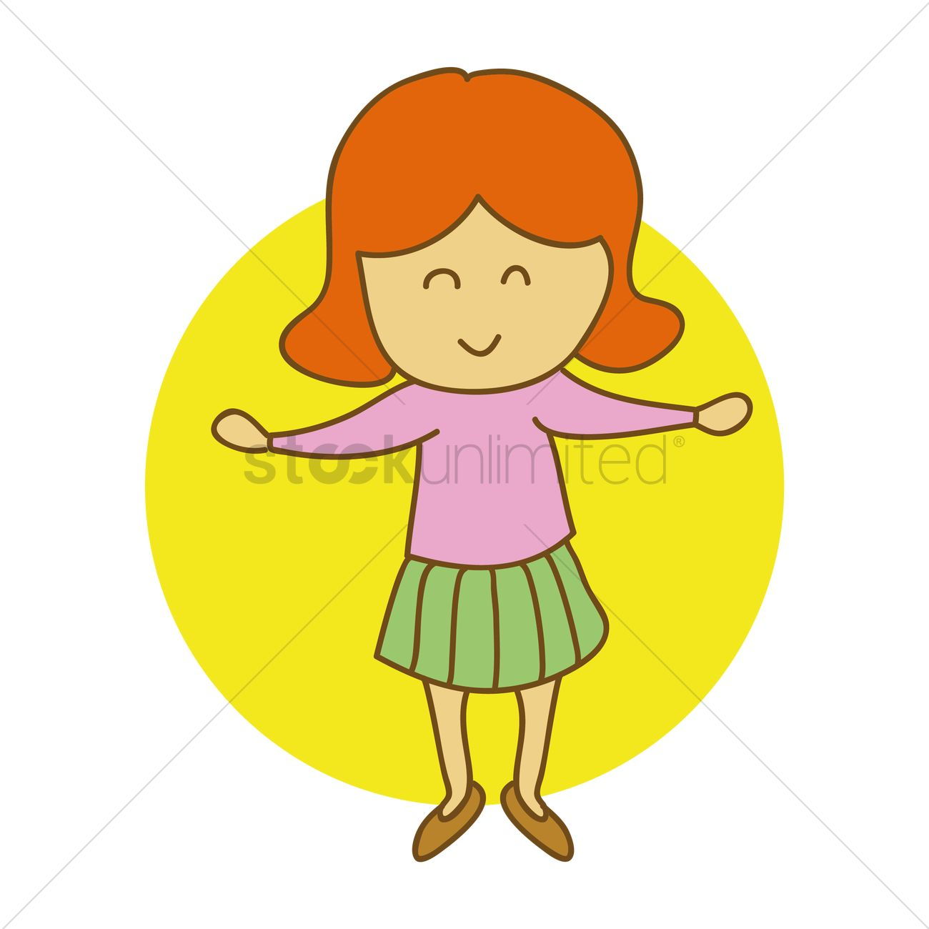 Girl standing with open arms Vector Image.
