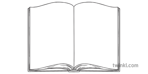 Open Book Outline Science Secondary Bw RGB Illustration.