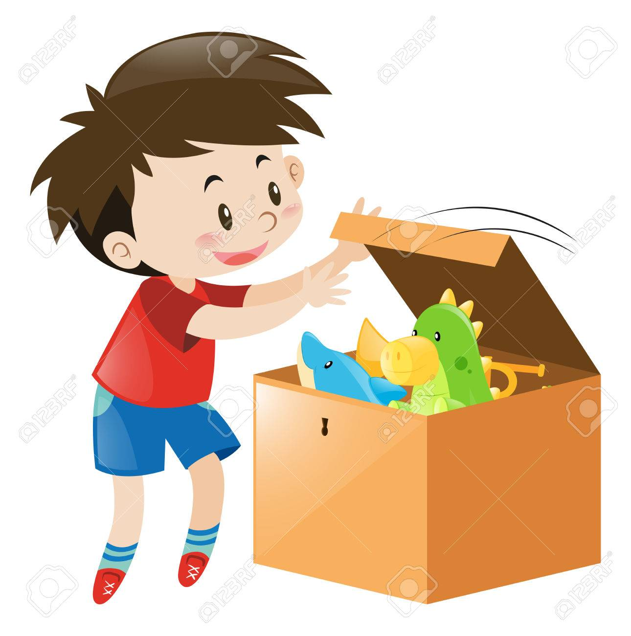 Boy open box full of toys illustration.