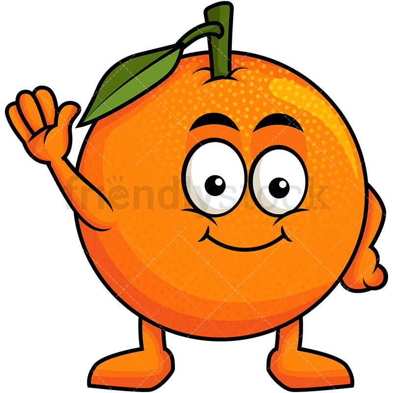 Cute Orange Mascot Waving.