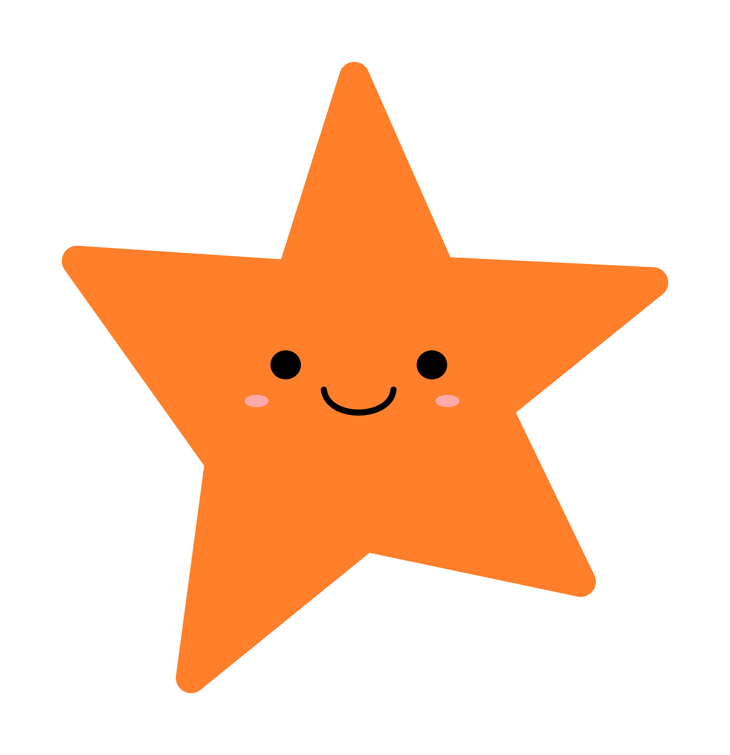 Orange Star vector clipart image.