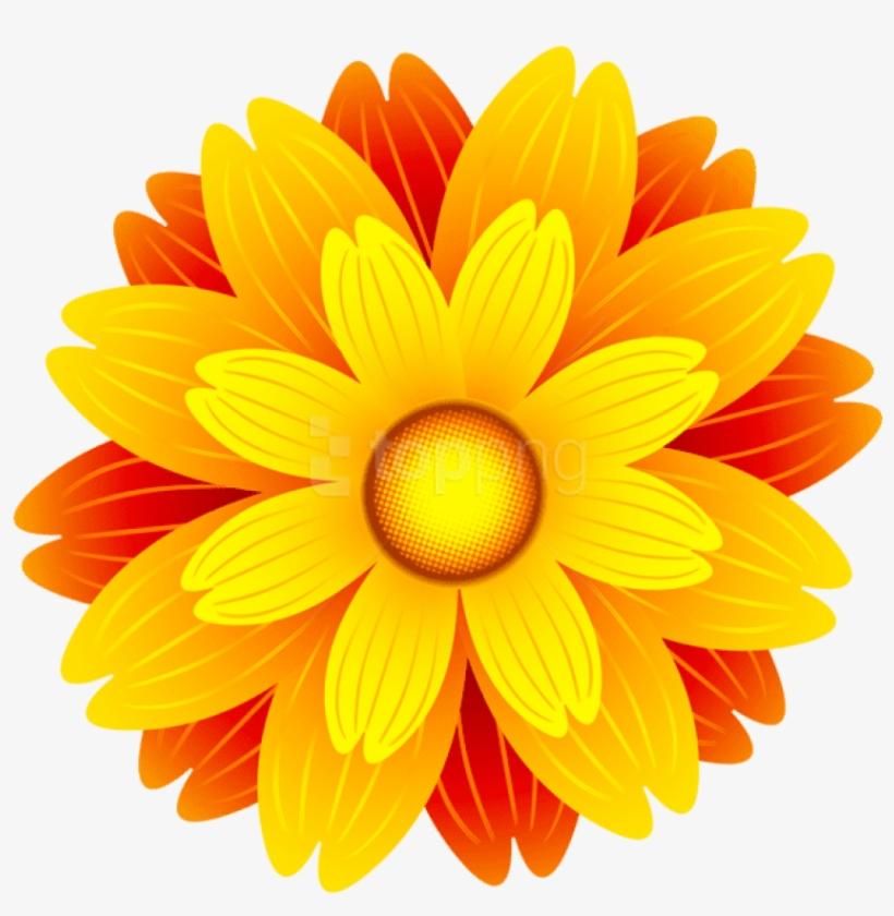 Orange Flower Png Transparent Clip Art Image.