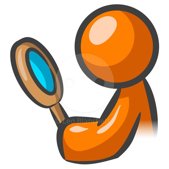 ClipArt Illustration of Orange Man Inspector Detective with.