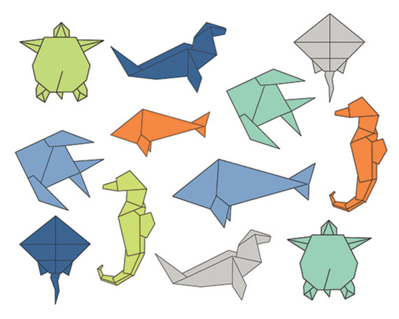 60% off Clip Art Sale, Origami Sea Clipart, Digital Design.