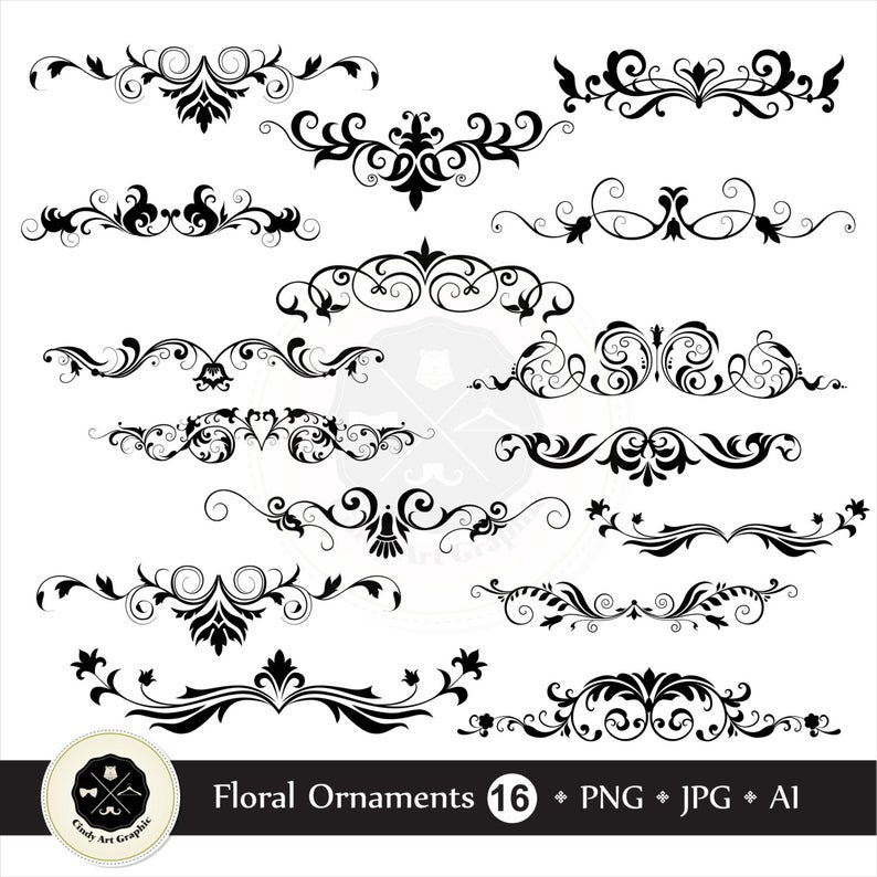 Floral Ornaments Clipart,flower clipart,ornament clipart,clipart  wedding,digital download.