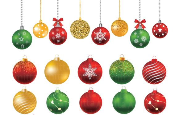Christmas balls Clipart set.