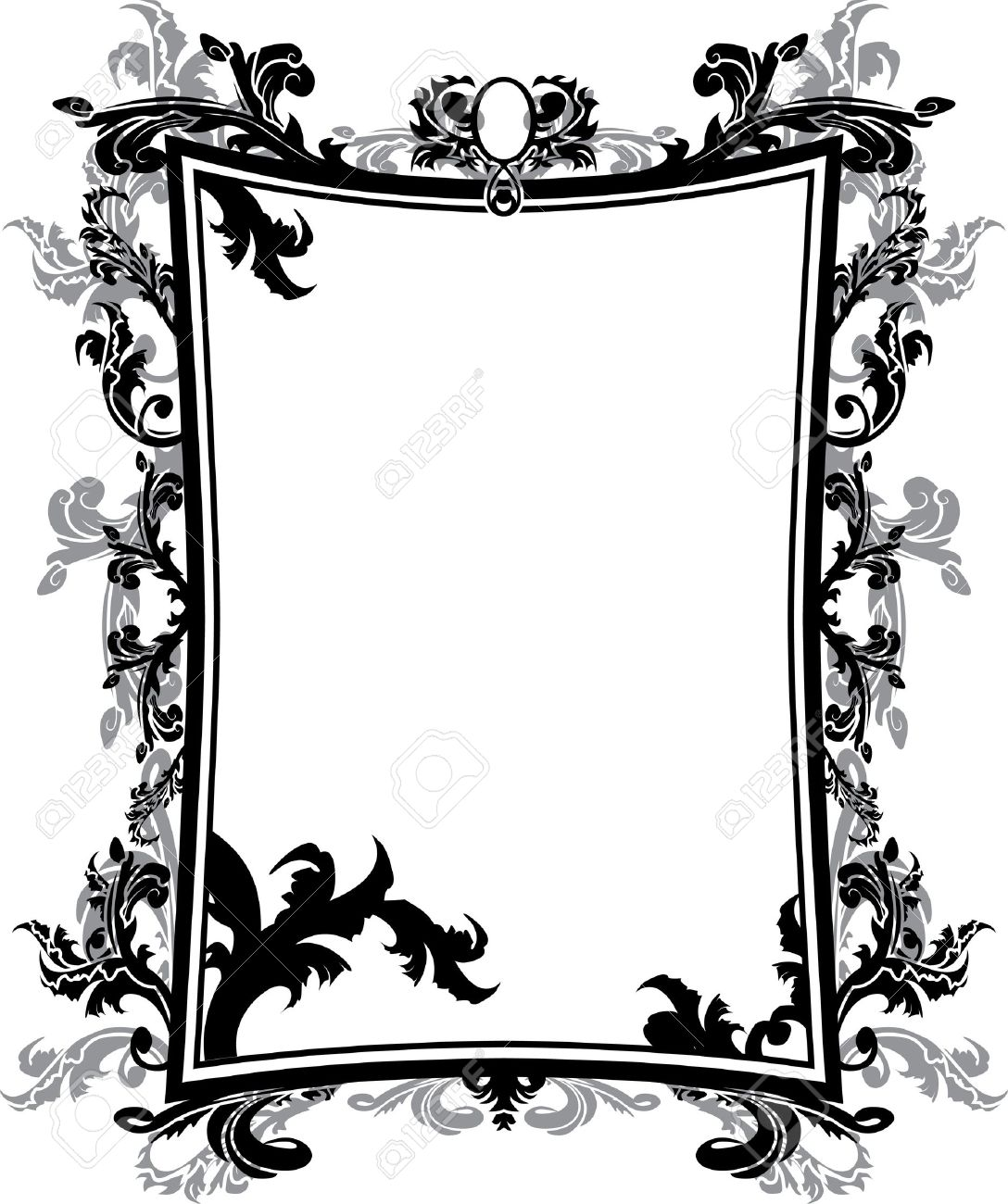 Ornate Vintage Frame Stencil Royalty Free Cliparts, Vectors, And.