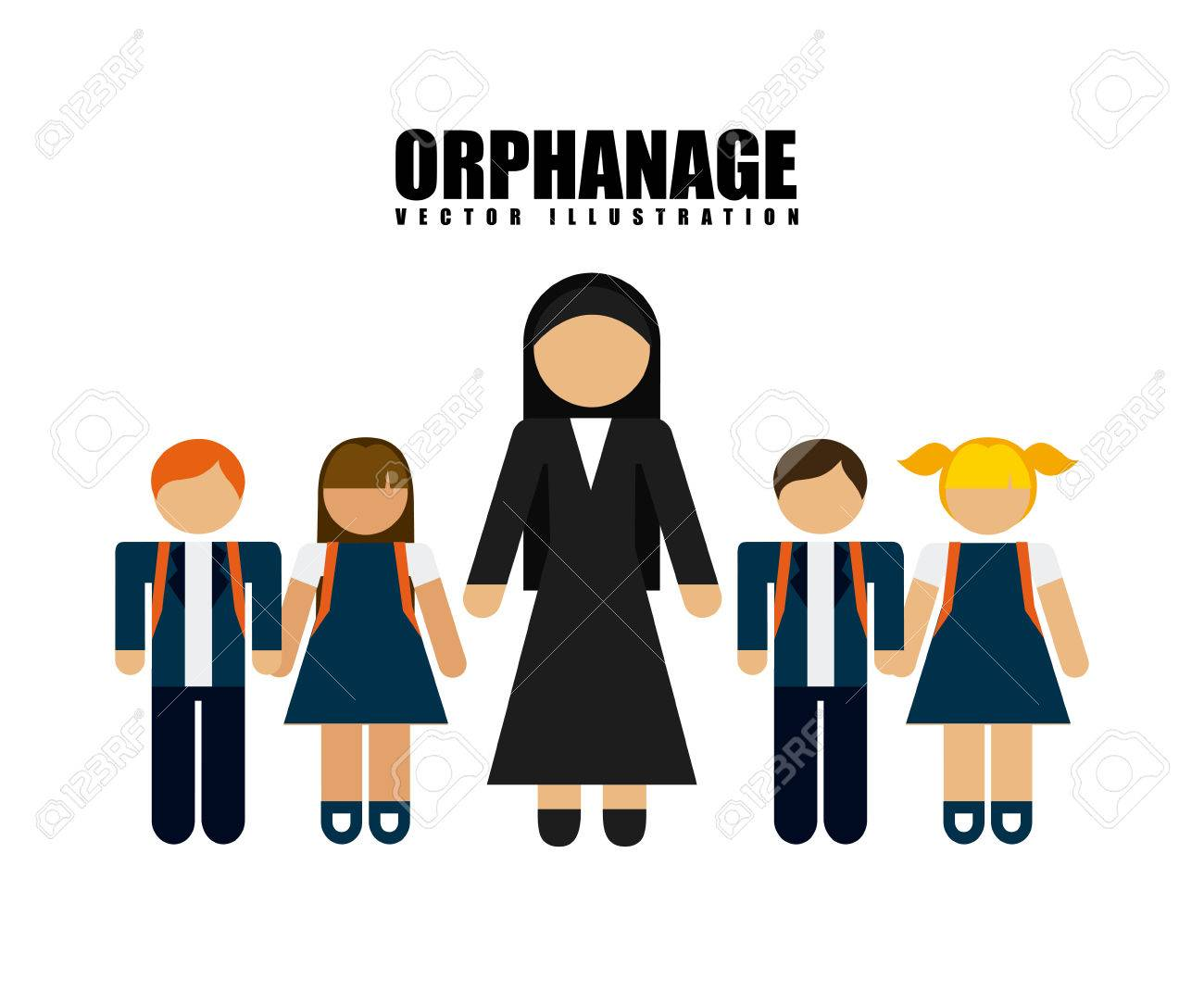 orphanage concept design, vector illustration graphic.