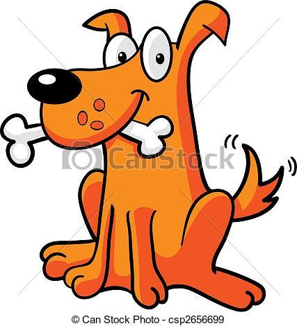 Illustration Vecteur de os, art, chien, agrafe.