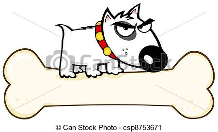 Clip Art Vecteur de MARCHÉ, Terrier, chien, os, taureau.