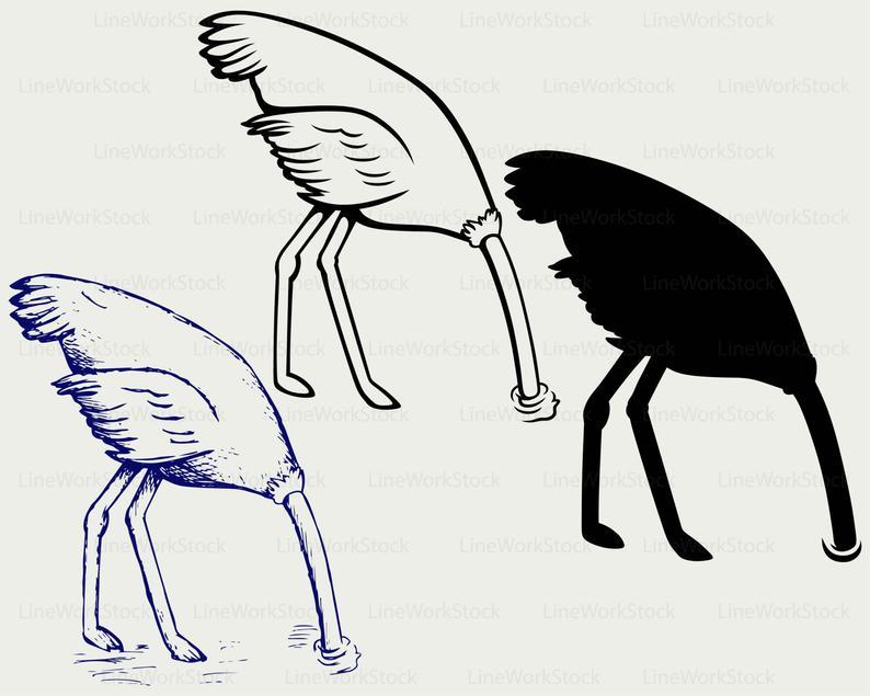 Ostrich head in sand svg/ostrich clipart/ostrich svg/bird  silhouette/ostrich cricut/cut files/clip art/digital download/designs/svg.