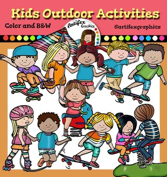Kids outdoor activities clip art.